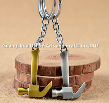 Popular Wholesale hardware bronze axe tool key chains /axe metal key chain keyring