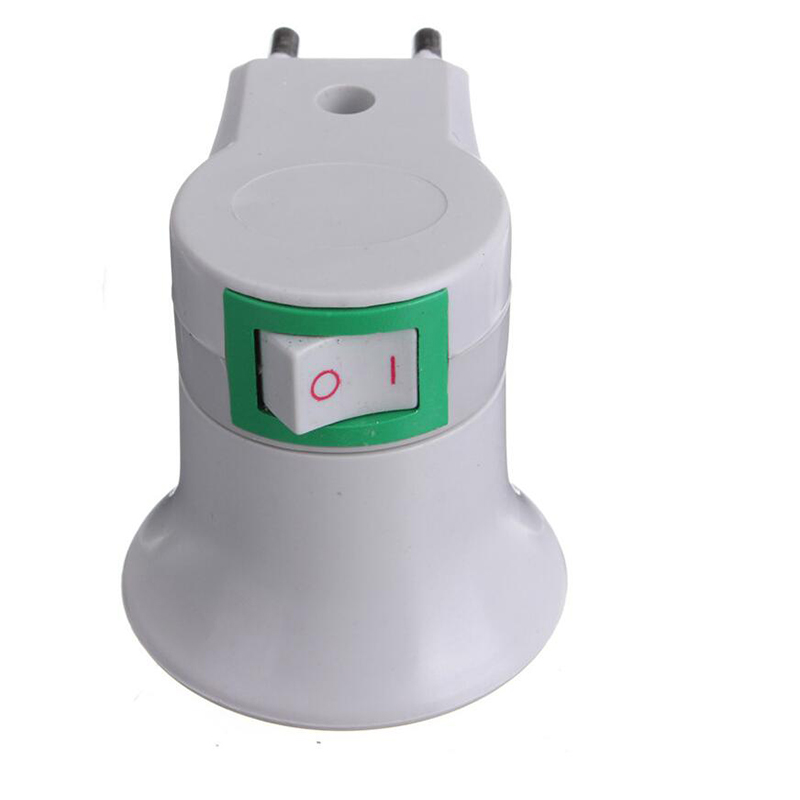 1204 Lamp Base E27 LED Light Male Socket to EU Type Plug Adapter Converter for Bulb Lamp Holder With ON OFF Button 3
