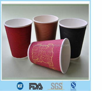 Custom printed take away ripple paper cup with lid
