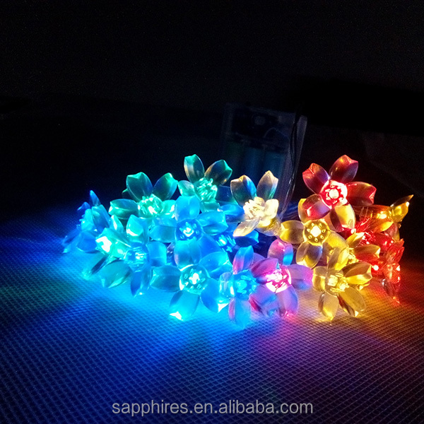 20L Colored led battery string light with flowers led light
