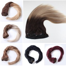 Grade 8a top quality factoy price 200 grams ombre color clip in hair extension human