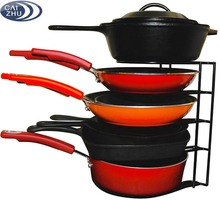 Heavy Duty Pan Organizer - Bottom Tier 1 Inch Taller for Larger Pans - No Assembly Required - Black