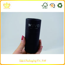 Custom black paper logo hot foil stamping round cosmetic paper tube/tube box for perfume