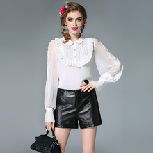 Female Silk Elegant Ruffles OL Formal Women Office Blouse