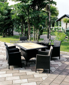 High quality rattan garden jardin wicker dining table and for Jardin wicker
