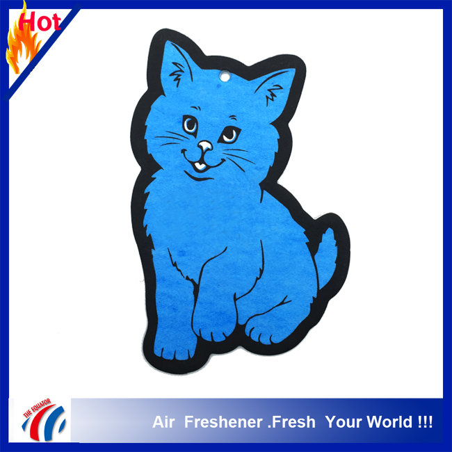 TrueFreshener brand bulk car air freshener paper /promotion hanging paper freshener cards/car paper perfume with cat design