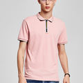zipper t-shirt polo 100% cotton pink polo shirts customized logo