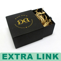 famous brand logo gold stamping drawer type dark brown paper gift box with raffia