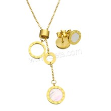 Refine Stainless Steel Jewelry Sets earring & necklace with Resin Flat Round, gold color plated with roman number & oval chain