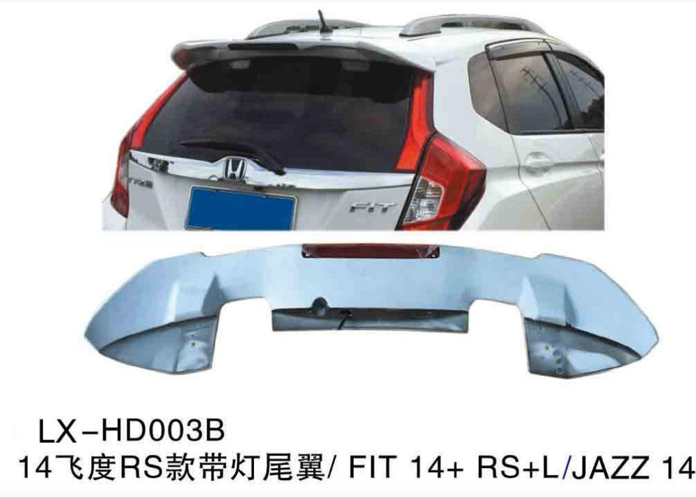 Wholesale rear spoiler for honda jazz RS model with brake light ABS Material