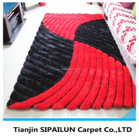 3D polyester shaggy carpet tie from Tianjin carpet munufacture