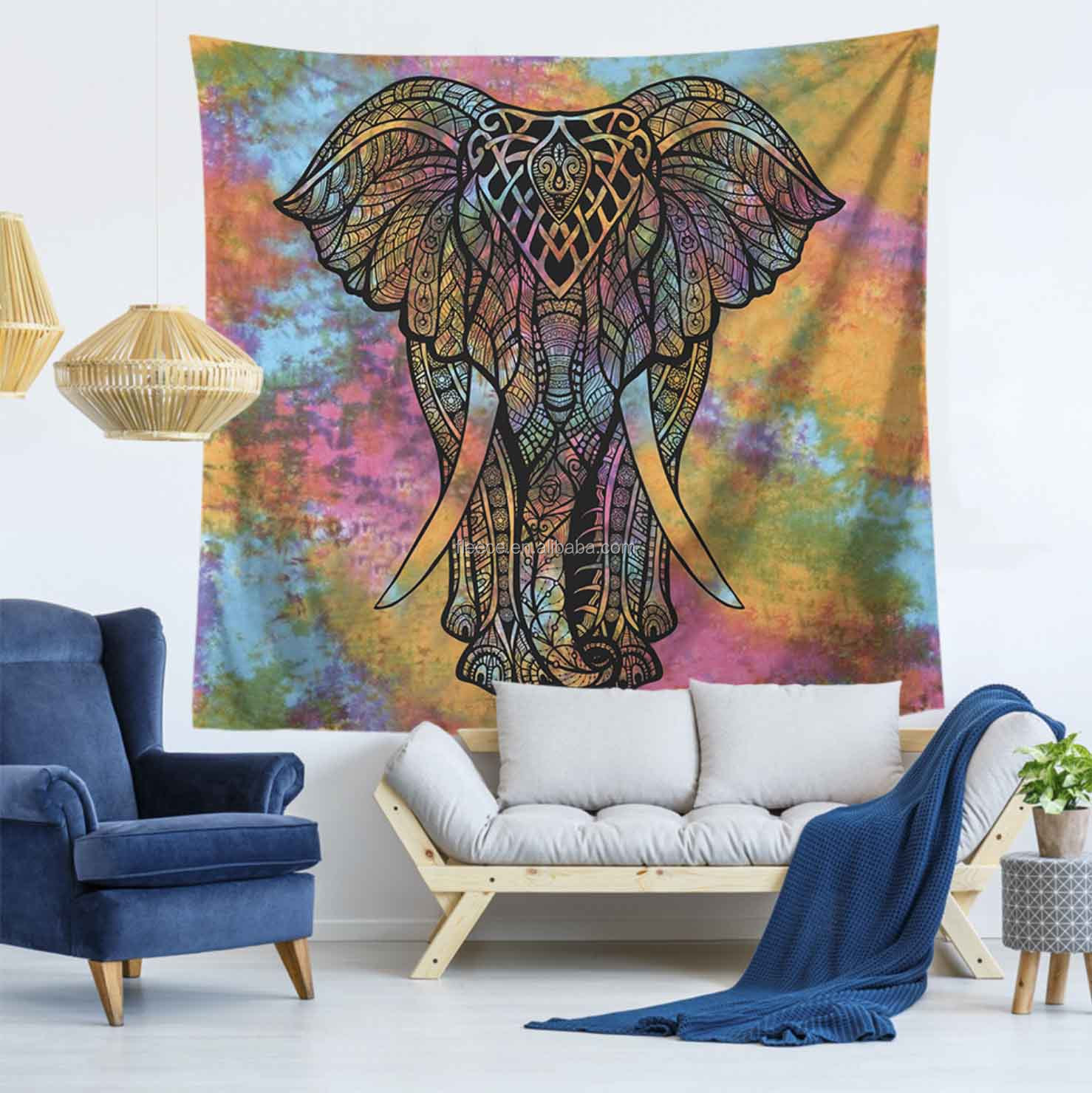 India Modern Wall Hanging Flat Sheet Colorful Elephant Mandala Tapestry Wall