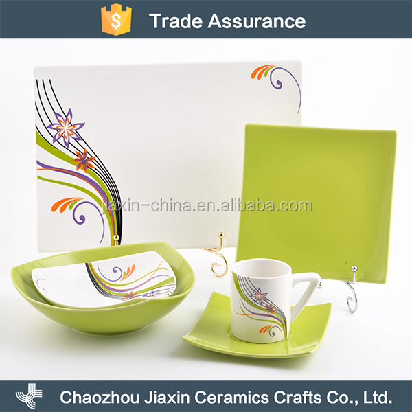 Exquisite decal design square english style porcelain dinnerware set