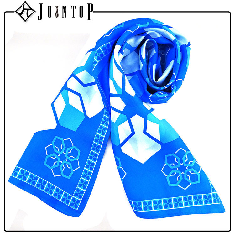 Buy high quality blue design own silk scarf for craft
