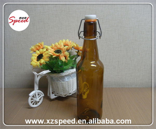 Chinese Wholesale Amber Color Swing Top Beer Glass Bottle Beverage Glass Bottle