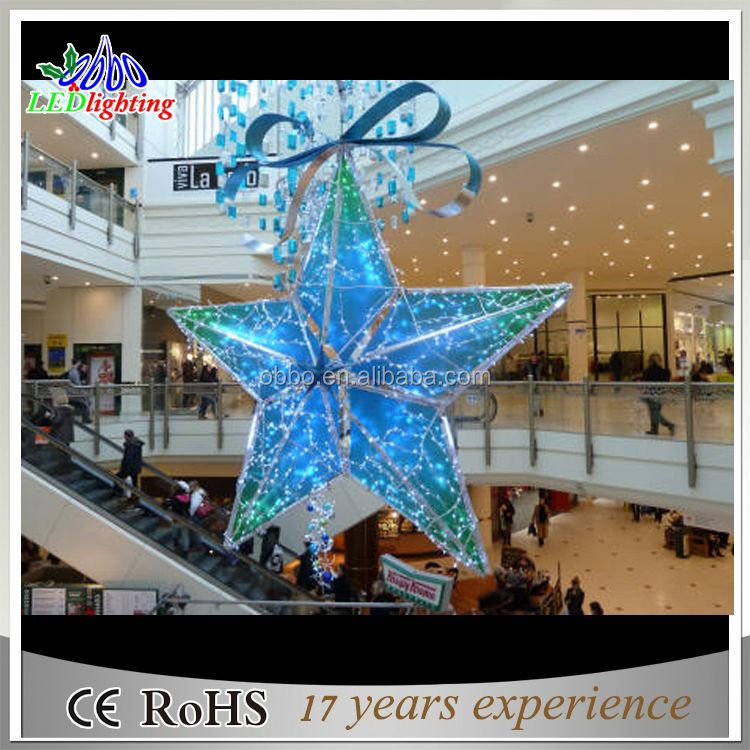 Indoor shopping mall decoration light led 3d christmas hanging star motif light