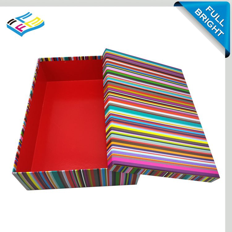 Trade Assurance Supplier New design stripe packaging color box, Lid and bottom Paper Color Box