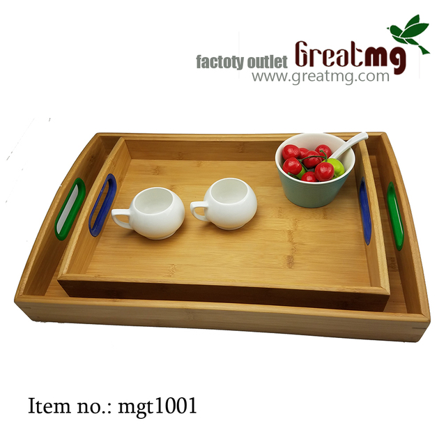Disposable Cheap Bamboo Trays Wholesale With Nonskid Handle Multi-Function