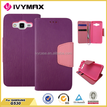 hot selling purple/pink phone wallet case for samsung grand prime G530