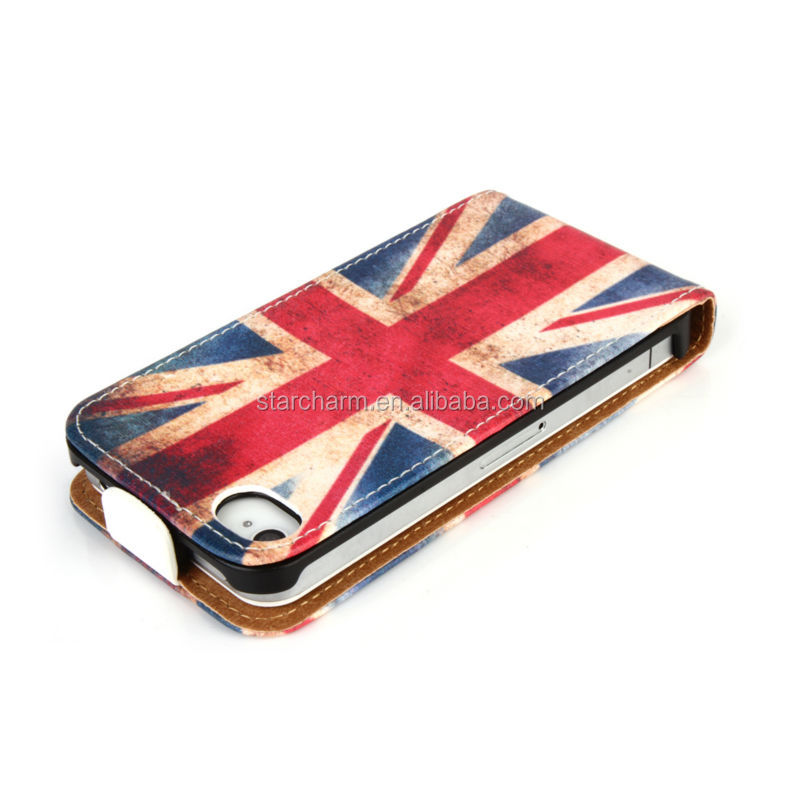 Leather Flip case with UK National Flag Style for Iphone 4G