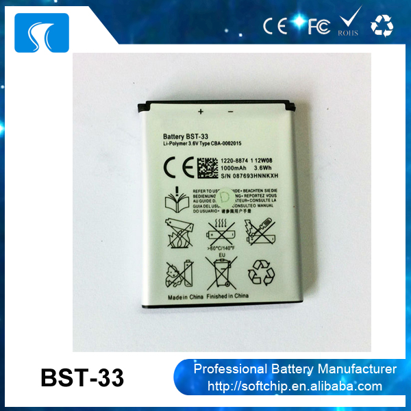 3.7V mobile phone G900 battery for Sony V800 Z800 W900 G900 BST-33