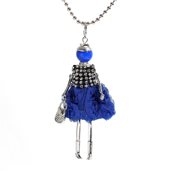 Acrylic Doll Necklace Silver Tone Blue Handbag Clear Rhinestone Colorful Bead Jewlery