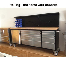 Mobile garage working table, metal drawer cabinet workshop tools hanging benches
