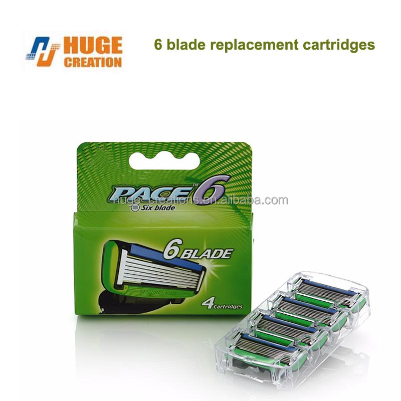 changeable cartridges replacement razor heads for Six Blade Male Razor Shaving System safety blade