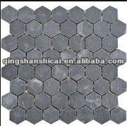 "Crag Hexagon Black Slate Autumn Mist 2"" x 2"" Beehive Natural Cleft Multi-Surface Mosaic Tile"