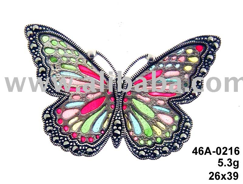 Colorful Enamel Butterfly Marcasite Silver Pin 46A-0216