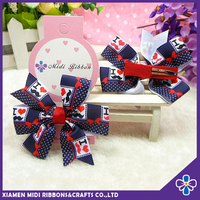 latest fancy boutique printed grosgrain ribbon hair bows clip for baby