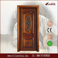 customized cheap export plain solid wood exterior double doors
