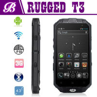 Hot Sale T3 Waterproof Dustproof Shockproof Skype Wechat Quad Core IP67 Rugged Phone