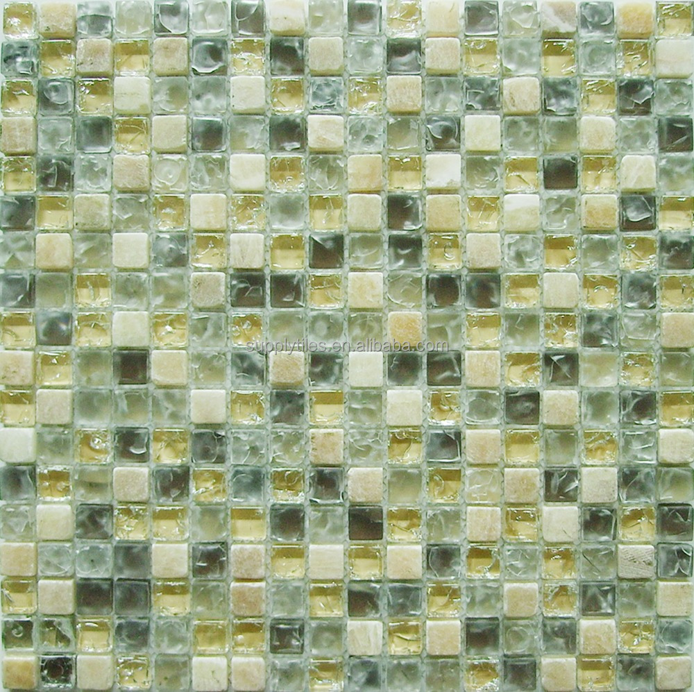 China ice crackle glass mosaic tile mix stone for bathroom
