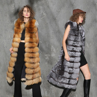 China Supplier Womens Luxury Long Red Fox Gilet Real Silver Fox Fur Vests
