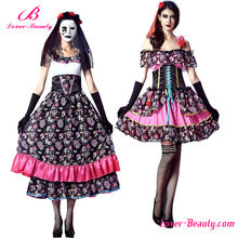 Suppliers Wholesale Beauty Skull Print Sexy Halloween Costume