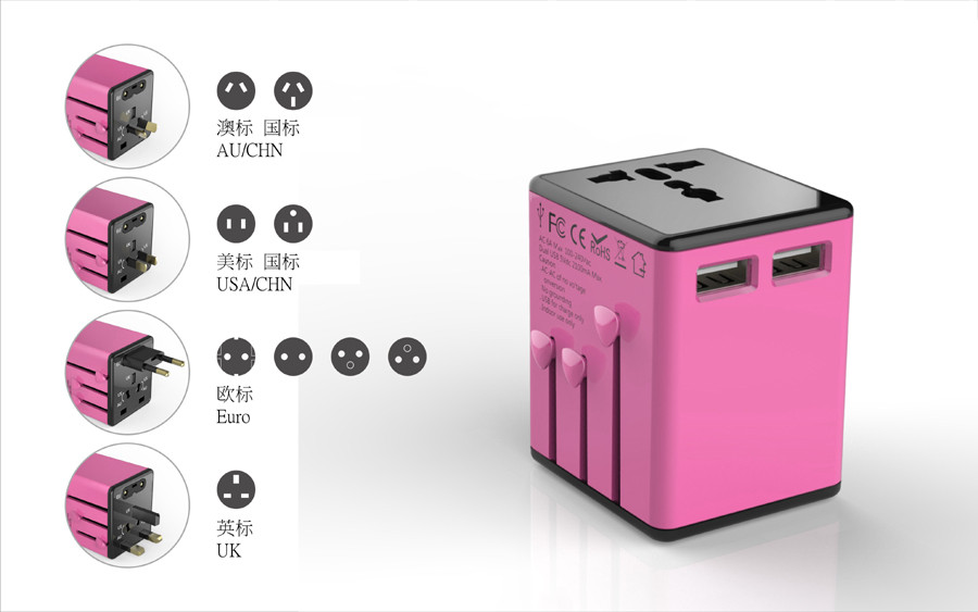 More Portable Colorful UK US AU EU Plug World International Universal Travel AC Adapter Power Outlet Travel Adapter with 2 USB