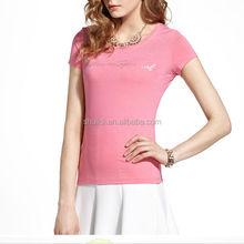 Women mercerized cotton textured ladies logo printed patterned blouse beautiful t shirt