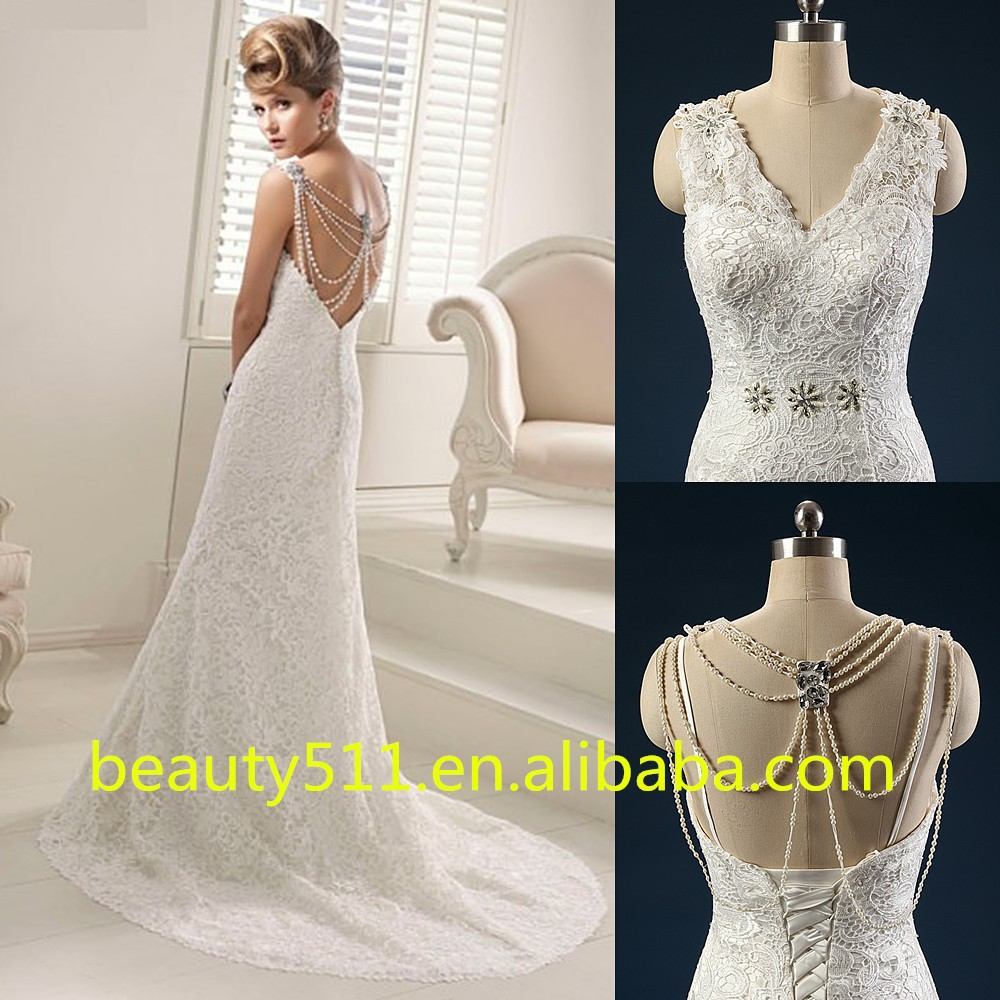 New Design Elegant Sheath Scoop 3/4 Long Sleeve Floor-length Lace wedding dress WD1638