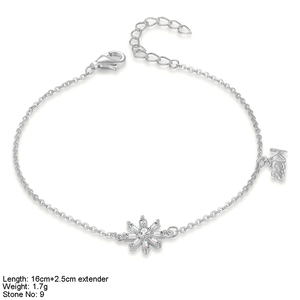 snowflake jewellery silver bracelet with CZ stones bali indonesia 925 sterling silver jewelry
