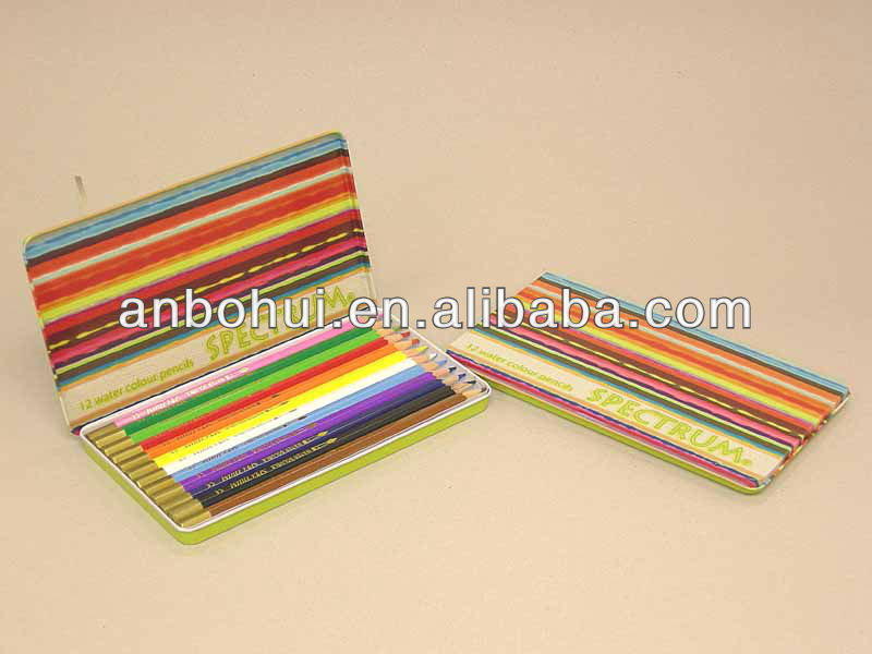 12pcs Round/Tri./Hex.water souble Colour Pencil in Tin Case