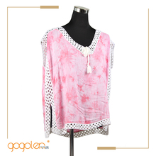 newest fashion sweet short sleeve unique blouse front neck design with best price