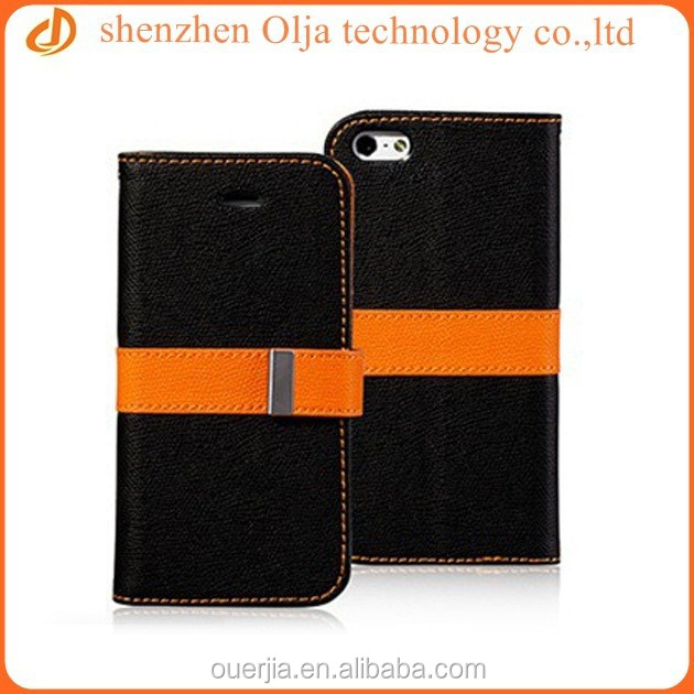 Olja flip leather case for iphone and samsung, for iphone 6 plus double color flip case
