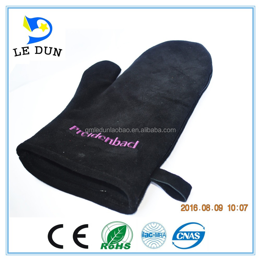 Commercial Grade, Extra Long Quilted Cotton Lining Heat Resistant Leather Oven Mitts Gloves