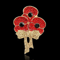 Wholesale Flower Red Rhinestone Poppy brooch for woman