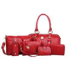 Hot sale pu leather french ladies handbags 6 pcs set women bag for work made in china