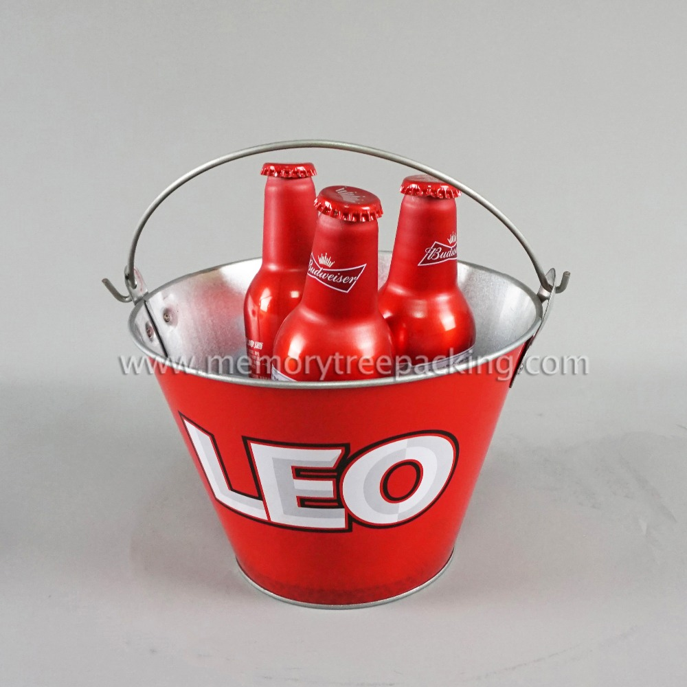 Metal Material ice buckets for beer wine cooler with handle
