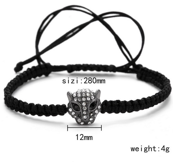 Black Cord Briad Crystal Leopard Men's Adjustable Bracelet