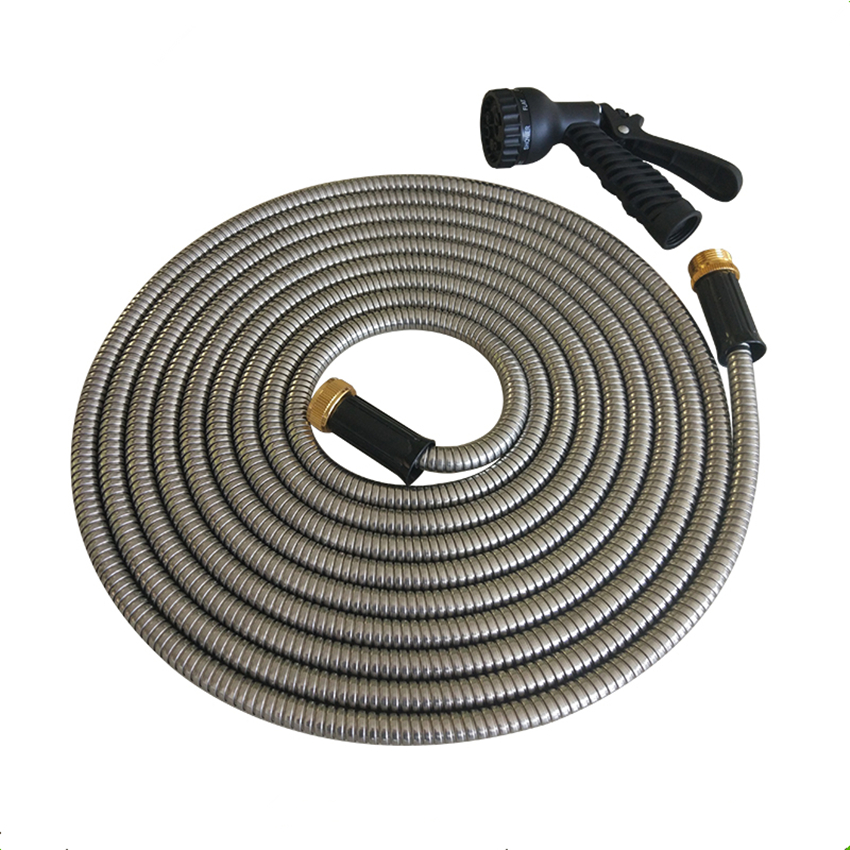 25FT,50FT,75FT,100FT, New Arrival Stainless Steel Flexible Hose With Nozzle Metal Garden Hose