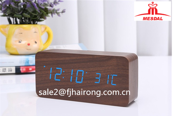 Multifunctional led digital desktop wooden LED clock ,wooden table clock